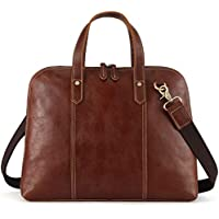 Kattee Unisex Genuine Leather Tote Shell-Shape 14 Laptop Briefcase Handbag (Light Brown)