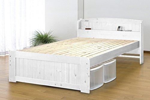 天然木パイン材棚付きすのこベッド ダブル ホワイト SA759