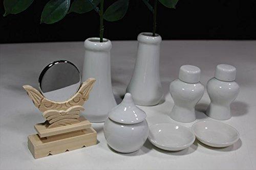 土器セット 神具セット ■神具10点セット/榊一対&陶器■小型 神棚用■白 無地■高級