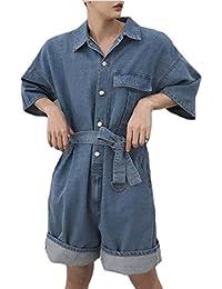 maweisong メンズ?カジュアルゆったりした綿のデニムショートパンツスーツ