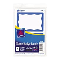 (1,800 name tags, Blue Border) - Avery Print or Write Name Badge Labels with Blue Border, 5.1cm - 0.9cm x 7.6cm - 1cm, 100 Labels per Pack, Case Pack of 18 (5144)