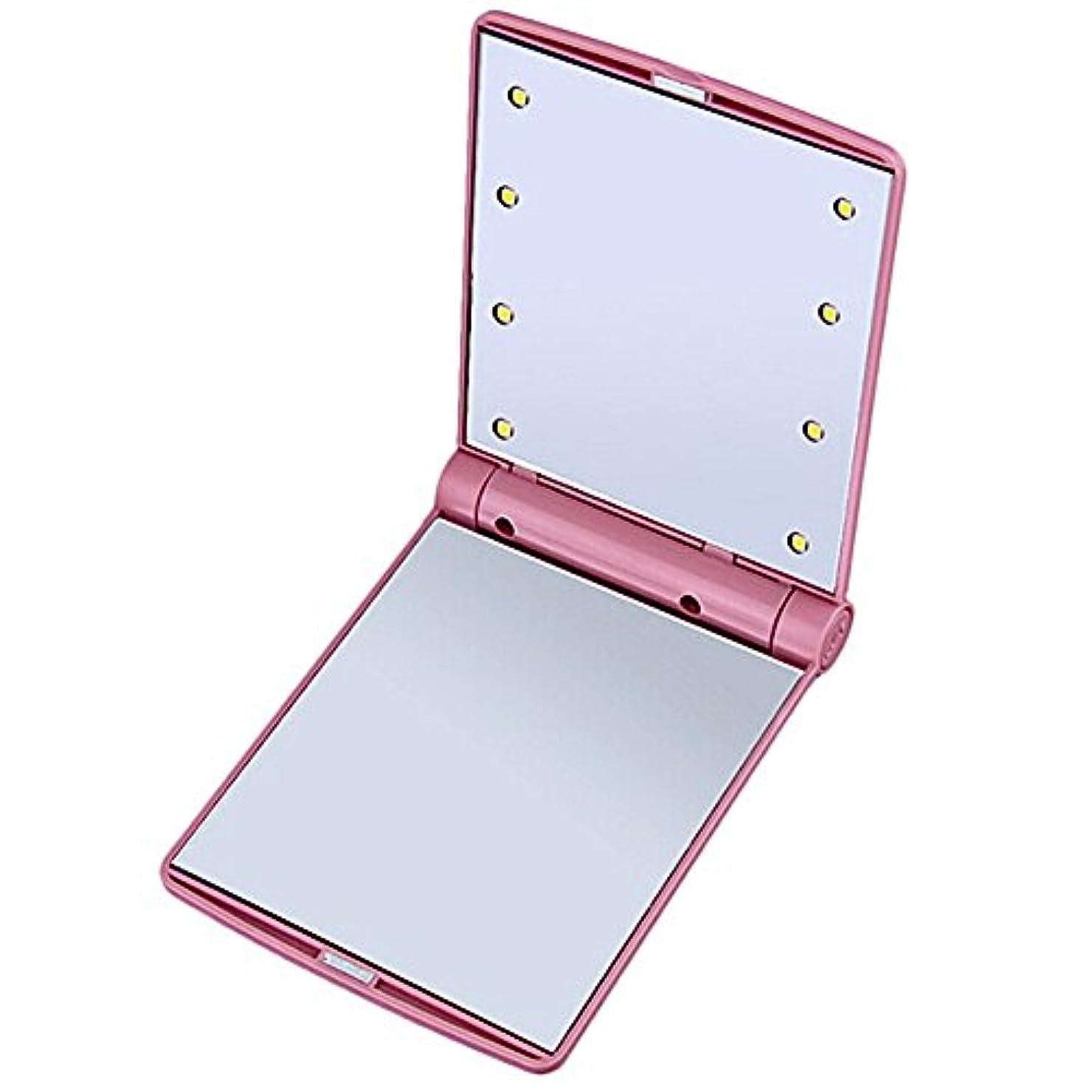 ソロ反論ブロックするB-PING 鏡 化粧鏡 女優ミラー 調光型二面鏡 拡大鏡付き 330度調節可能 コンパクトミラー スタンドミラー 折りたたみ式 二面鏡 LED ライト8個 無印タイプ 5色のオプション (ピンク)