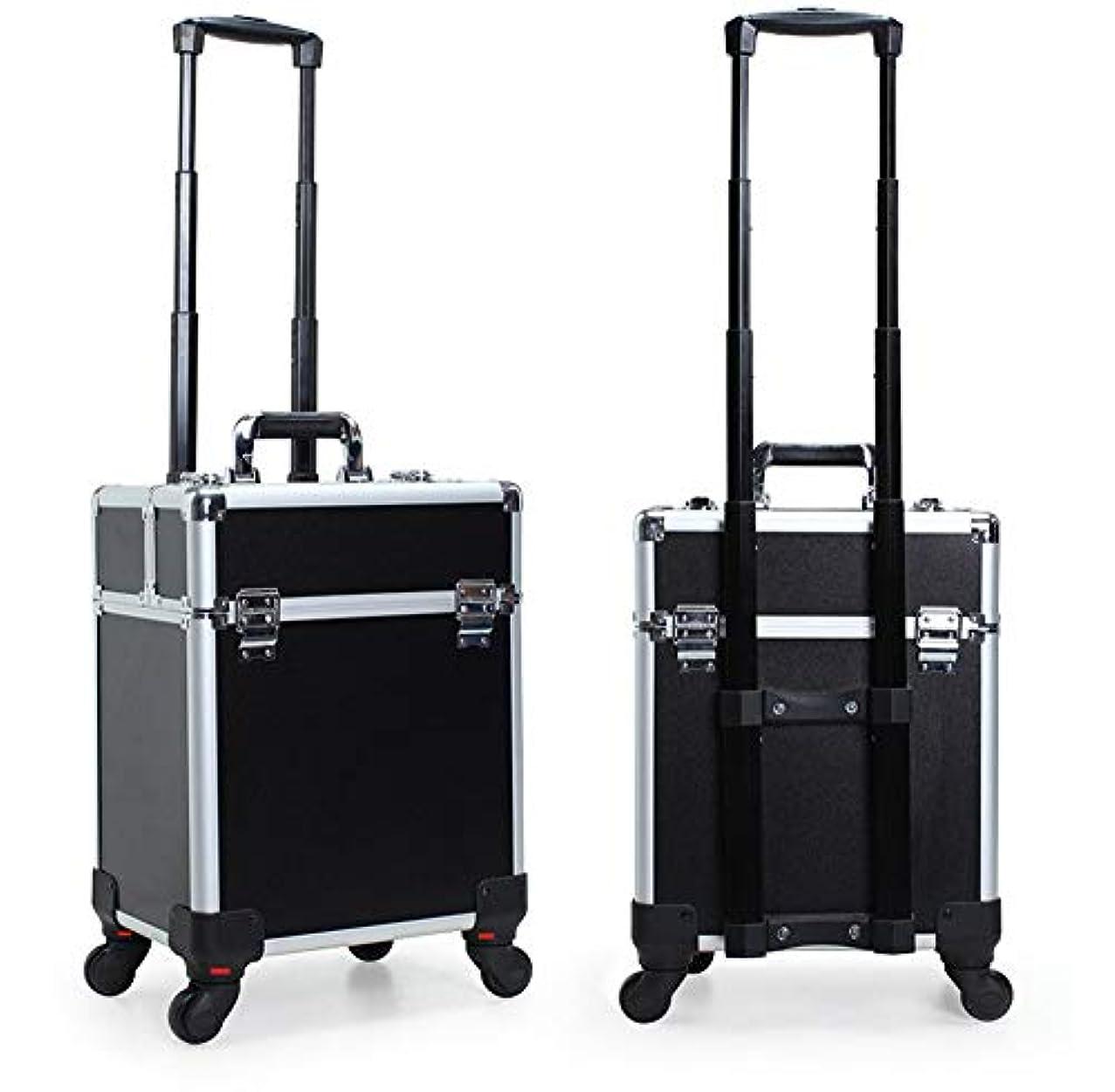 神社ポーター一生GOGOS コスメボックス 大容量 プロ仕様 メイクボックス スーツケース型 化粧品収納ボックス 4輪 キャスター付き アルミ製 出張 携帯 便利