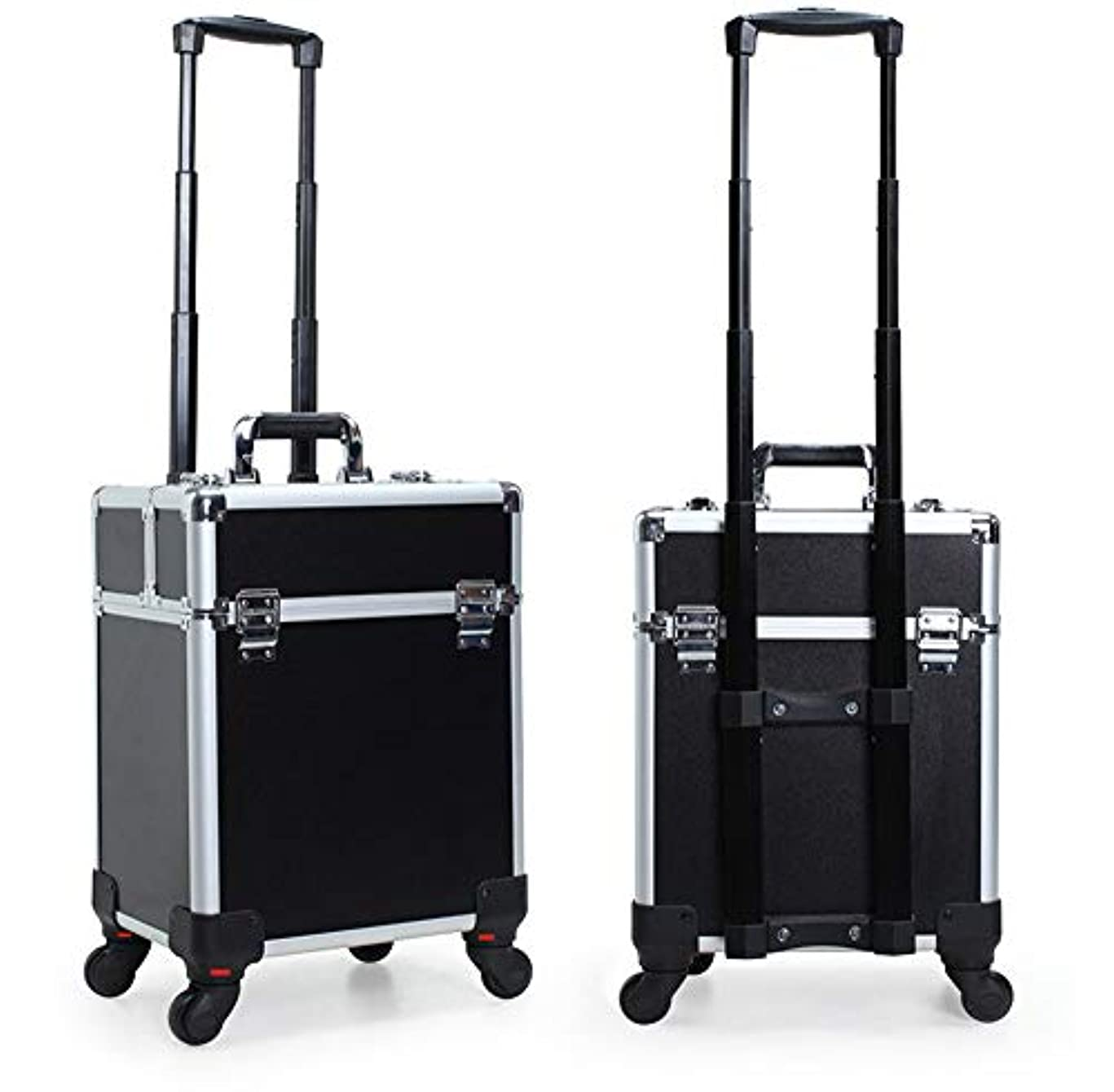 ジャベスウィルソン倉庫潤滑するGOGOS コスメボックス 大容量 プロ仕様 メイクボックス スーツケース型 化粧品収納ボックス 4輪 キャスター付き アルミ製 出張 携帯 便利