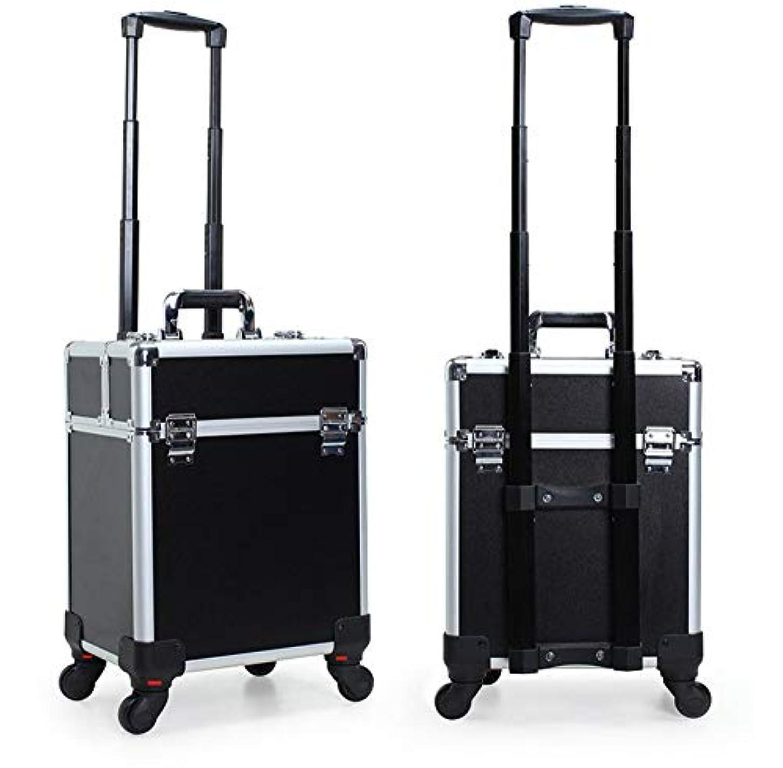 膨張するラベガレージGOGOS コスメボックス 大容量 プロ仕様 メイクボックス スーツケース型 化粧品収納ボックス 4輪 キャスター付き アルミ製 出張 携帯 便利