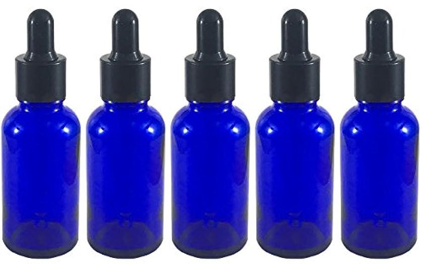 開始無数の良さスポイト 付き 遮光瓶 5本セット ガラス製 アロマオイル エッセンシャルオイル アロマ 遮光ビン 保存用 精油 ガラスボトル 保存容器詰め替え 青色 ブルー (30ml?5本)