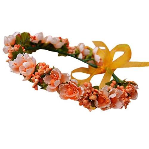 Plus Nao(プラスナオ) 花かんむり カチューシャ ヘアバンド 髪飾り ヘアアクセサリー 花冠 レディース 結婚式 リゾート 髪かざり フラワー - オレンジ