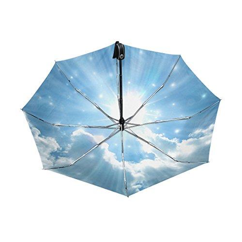 マキク(MAKIKU) 折り畳み傘 自動開閉 軽量 ワンタッチ 日傘 晴雨兼用 uvカット 紫外線対策 頑丈な8本骨 耐風 撥水 グラスファイバー 収納ケース付 青空 眩しい光 ブルー