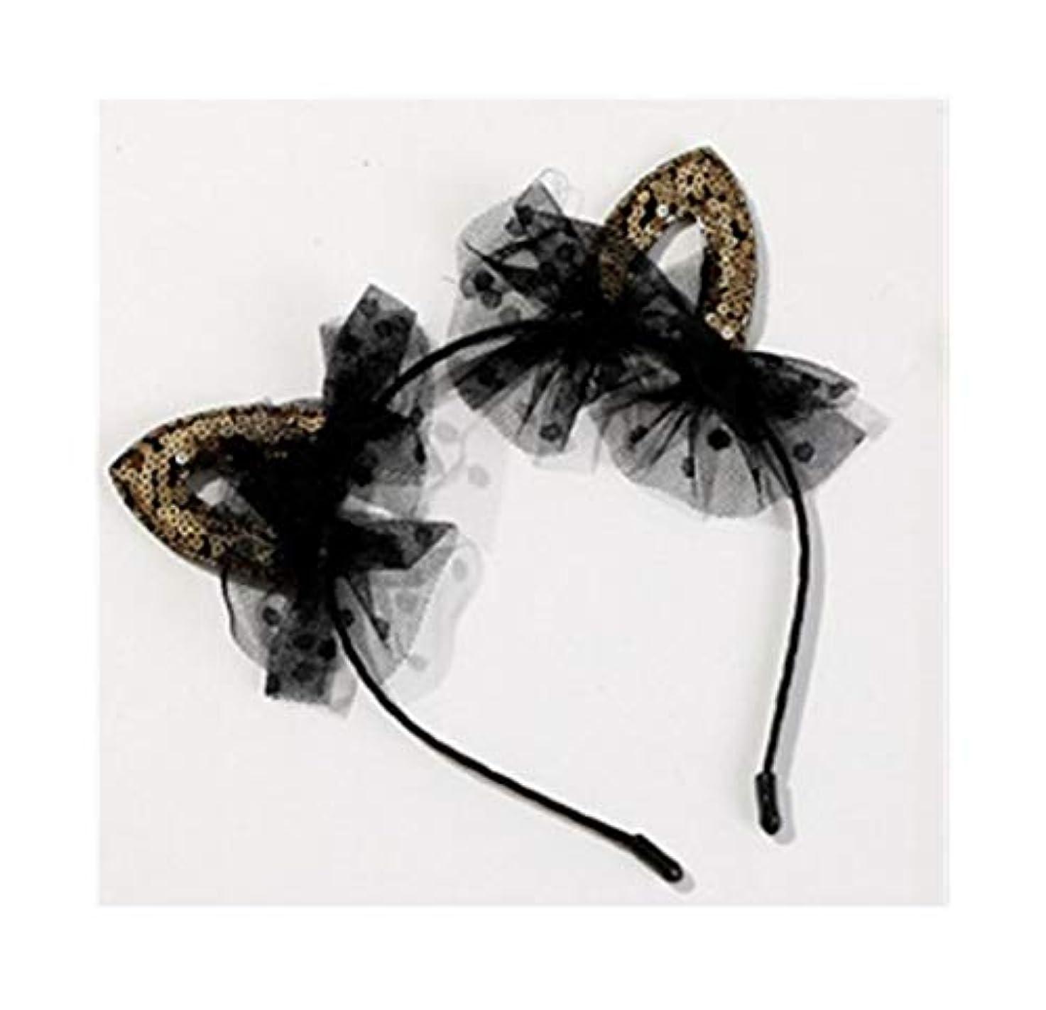 パノラマいちゃつく記事クリスマスの枝角は、女性のかわいい黒猫耳カチューシャ大人のティアラヘアアクセサリーヘッドバンドヘアピン子供レースの金猫耳をひもで締めます (Color : Black, Size : 11.5cm)