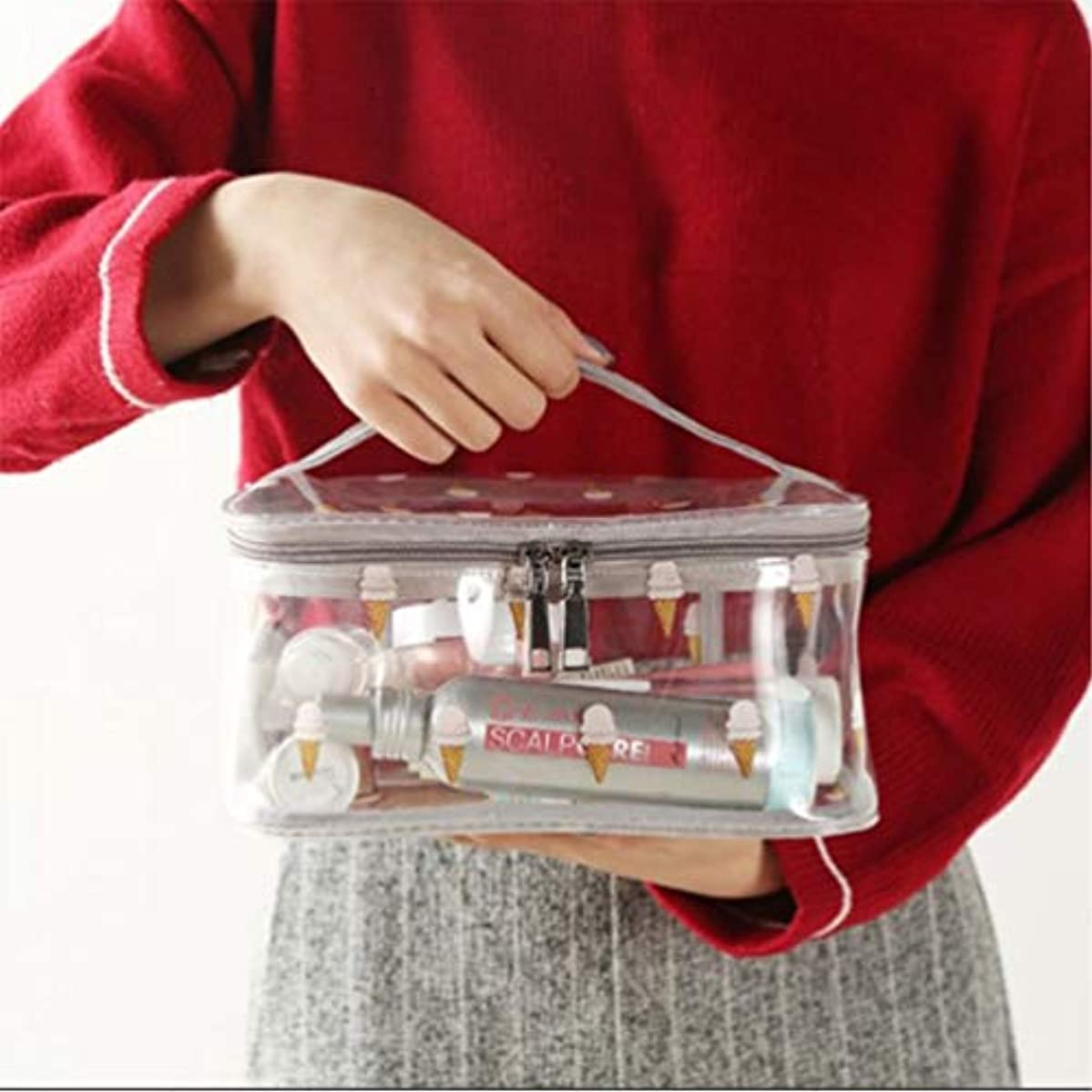 化粧品収納バッグ、透明PVC旅行化粧バッグポーチ防水トイレタリーバッグ、ハンドルデザイン