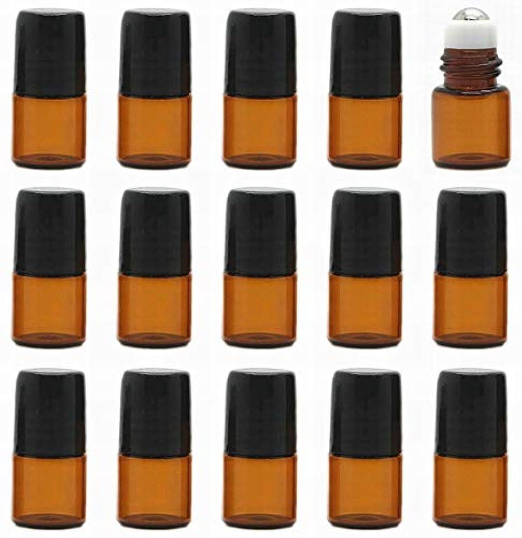 15本セット 精油 香水 小分け用ロールオンボトル 遮光瓶 セット 茶 ガラス アロマ ボトル オイル 用 瓶 ビン