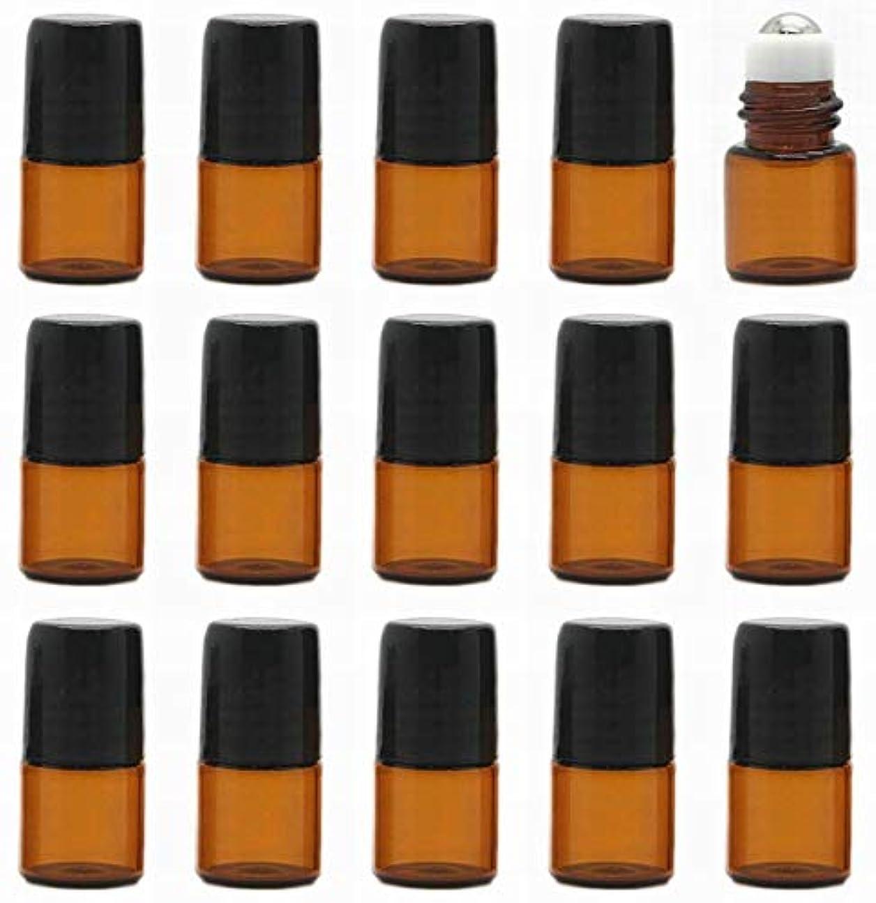 トマトルーキー銀河15本セット 精油 香水 小分け用ロールオンボトル 遮光瓶 セット 茶 ガラス アロマ ボトル オイル 用 瓶 ビン