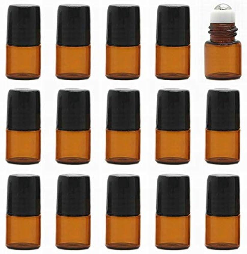インシデント膜口15本セット 精油 香水 小分け用ロールオンボトル 遮光瓶 セット 茶 ガラス アロマ ボトル オイル 用 瓶 ビン