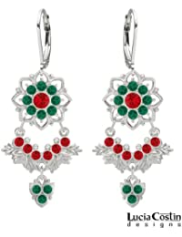 European Inspired Earrings Made of .925 Sterling Silver by Lucia Costin with Red and Green Swarovski Crystals,...