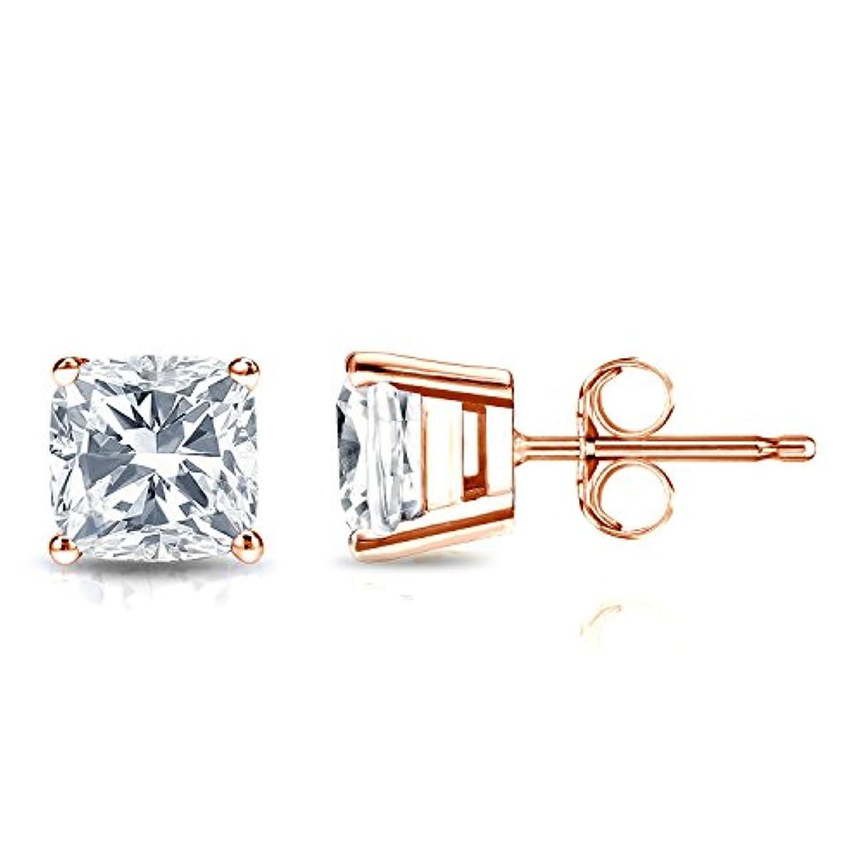 ロードハウス静的水銀の14 KローズゴールドクッションダイヤモンドSimulant CZメンズスタッドイヤリング( 1 / 2 – 2 Cttw、優れた品質)