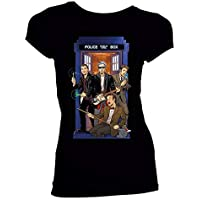 Doctor Who Classic Womens T-Shirt 4 Doctors Band Black S