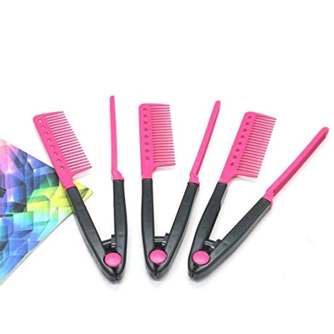 癒す行く紫のPack Of 3 DIY Hair Straightener V Shape Comb By IDS [並行輸入品]