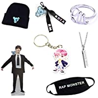 PINGJING 7Pcs/Set BTS Bangtan Boys Exquisite Gift Collection Package/T-Shaped Stand +Beanie +Key Chain+ Necklace+ Key Ring+Ring+Mouth Mask
