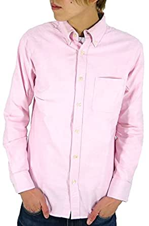 (マルカワジーンズパワージーンズバリュー) Marukawa JEANS POWER JEANS VALUE シャツ メンズ 長袖 無地 ボタンダウン オックスフォード 8color M ピンク