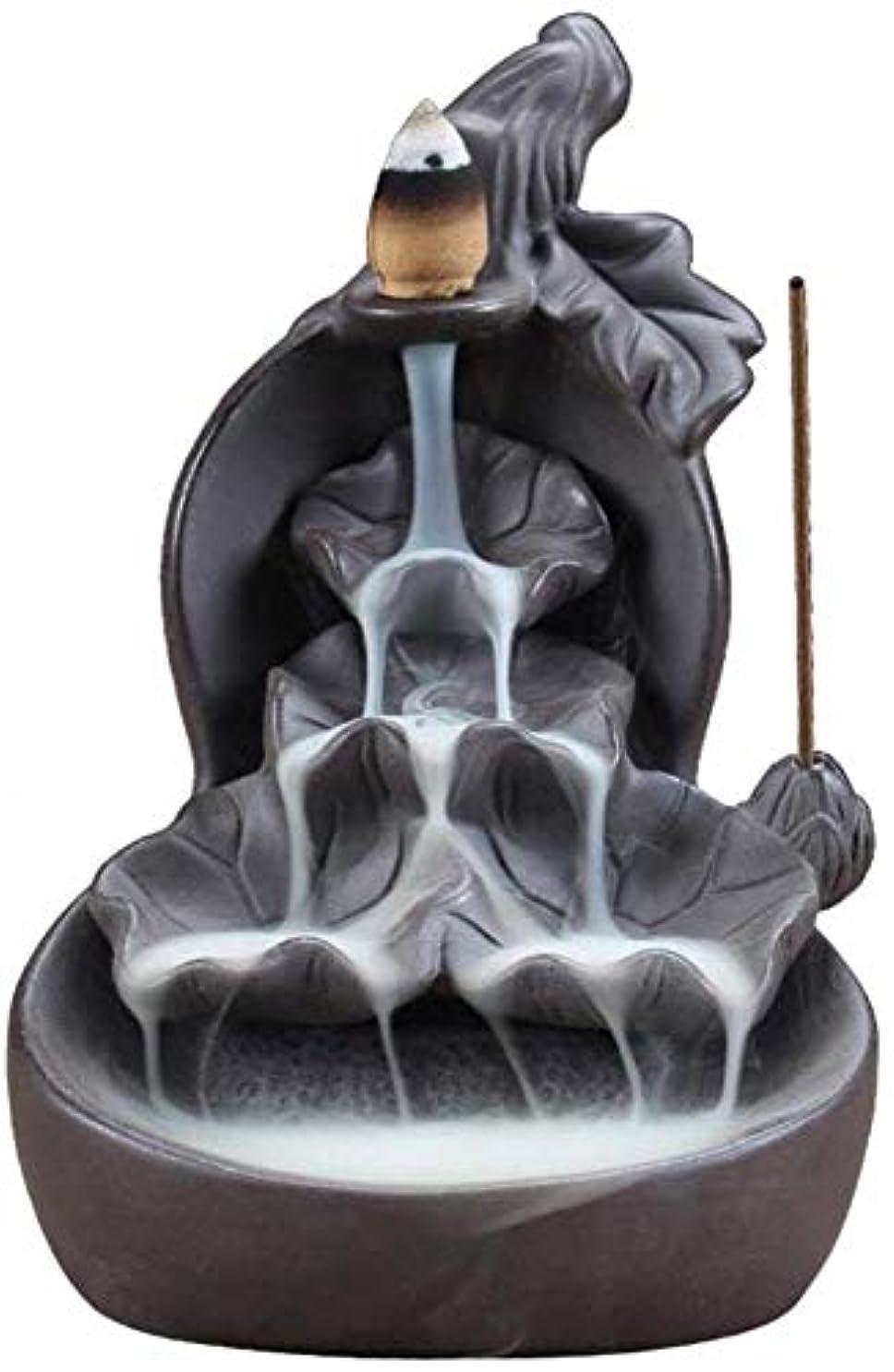 怠感実質的に水ロータス香スティックホルダー付き逆流香バーナーセラミックマウンテン滝香コーンバーナー,A