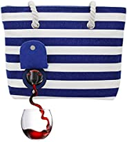PortoVino Beach Tote - Wine Handbag with Hidden, Insulated Compartment, Holds 2 Bottles of Wine! Blue & W