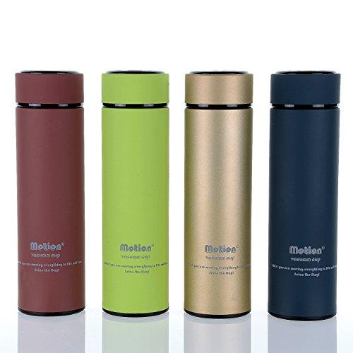 モーション真空カップ/究極のステンレススチールInfuser Water Bottle with Tea LeafフィルタCup /二重壁真空断熱フラスコwith Wide Mouth /カラフルなスタイリッシュな環境に優しいデザインサーモ/鮮やかな色:チェリー、ゴールド、ネイビーとライムのモチベーションモットー/ライト重量デザインのスポーツと屋外活動
