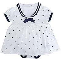 Baby Nest 夏 ベビー服 スカート付き 半袖ロンパース 赤ちゃん ワンピース 女の子 セーラー風 水玉 コットン100% ホワイト 6-9M