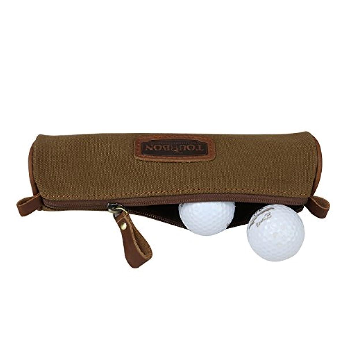 前任者楕円形ぞっとするようなTourbonキャンバスゴルフボール ホルダー ポーチ 学生鉛筆ケース ステーショナリーバッグ