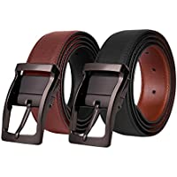 Mens Reversible Leather Belt, Genuine Black Dress Belt for Men with Buckle