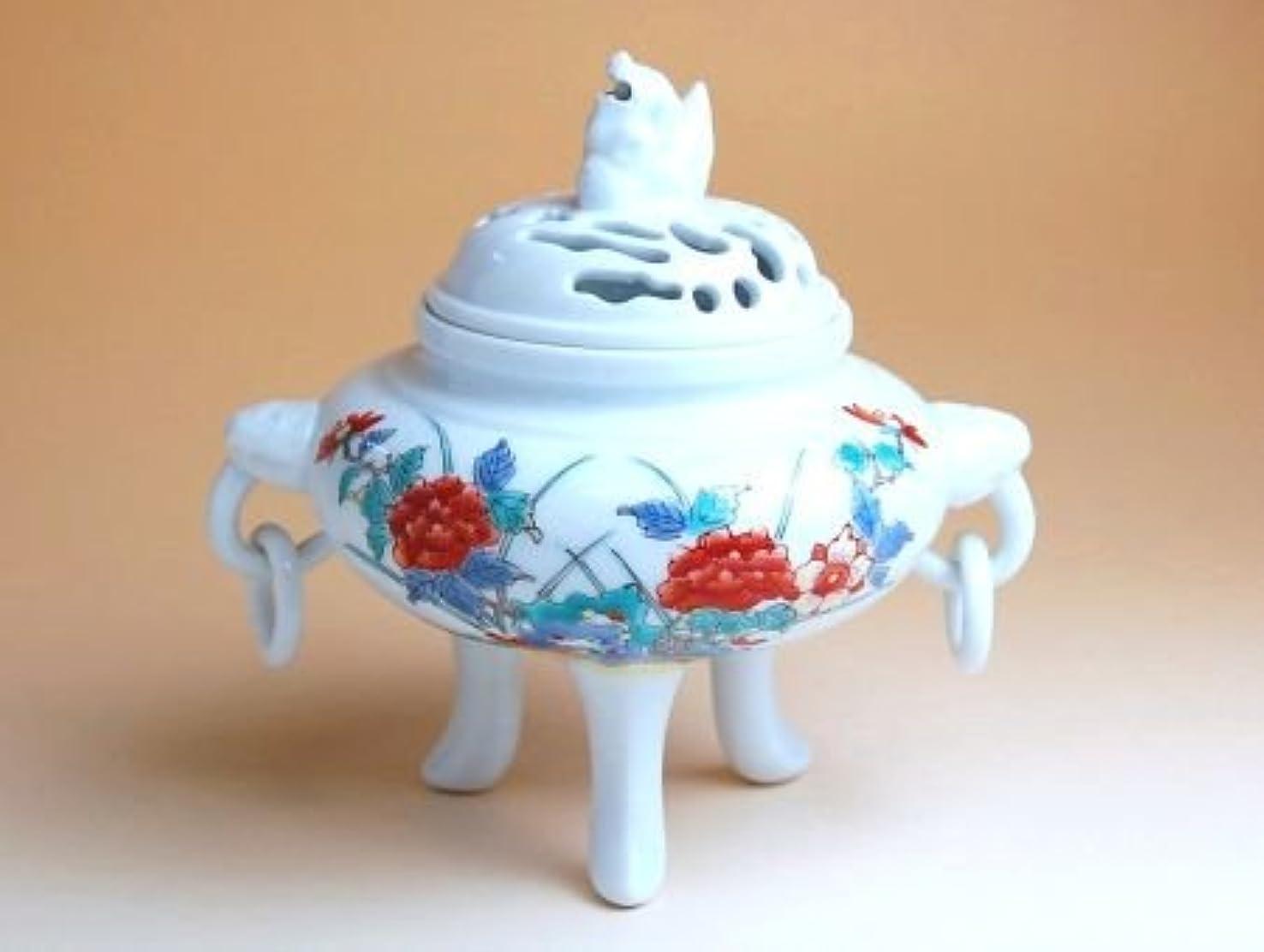 エクスタシー画家ユニークな有田焼 錦牡丹三つ足 香炉(木箱付)【サイズ】高さ15cm