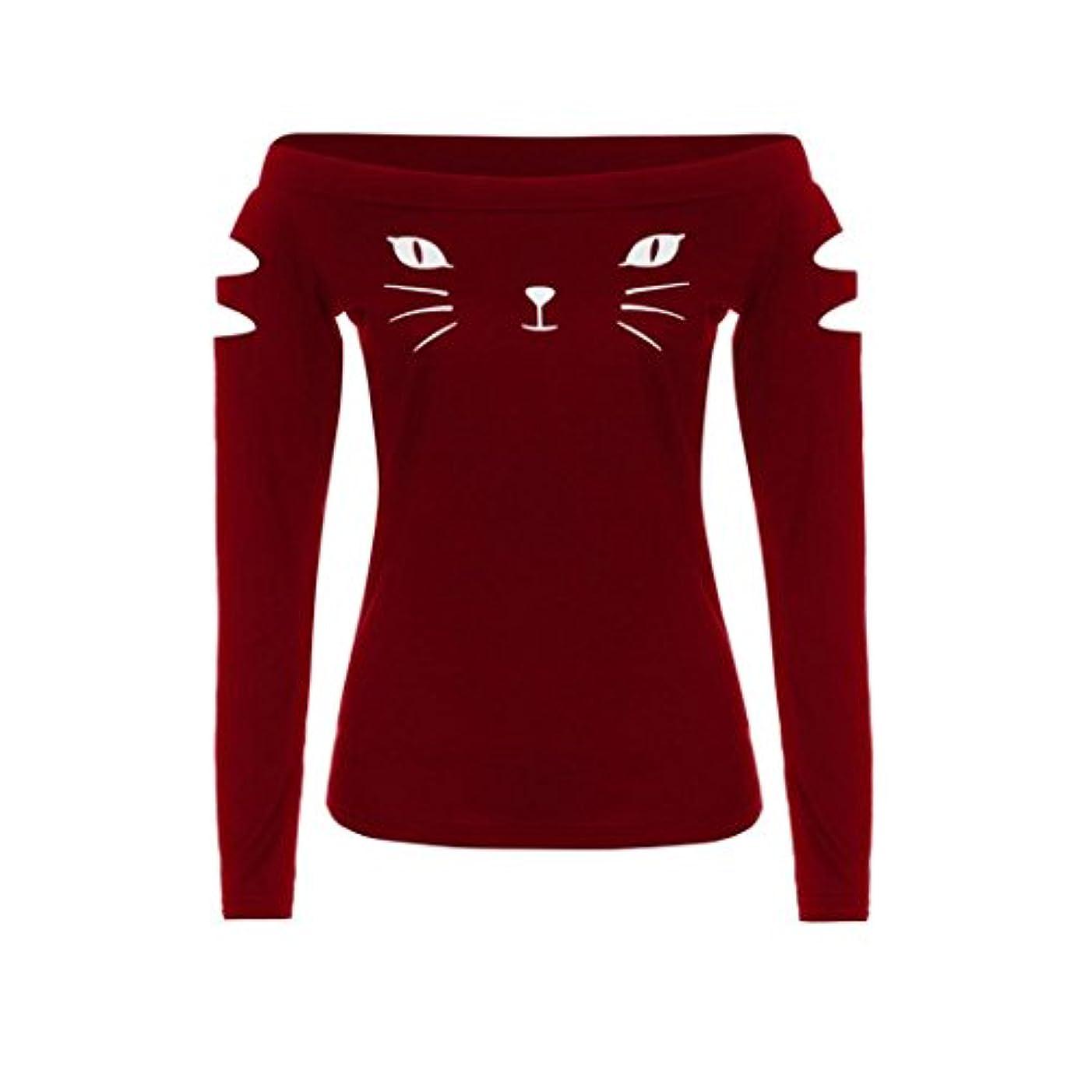 ひばり特徴安全性SakuraBest 女性スラント長袖ブラウス猫プリントTシャツ