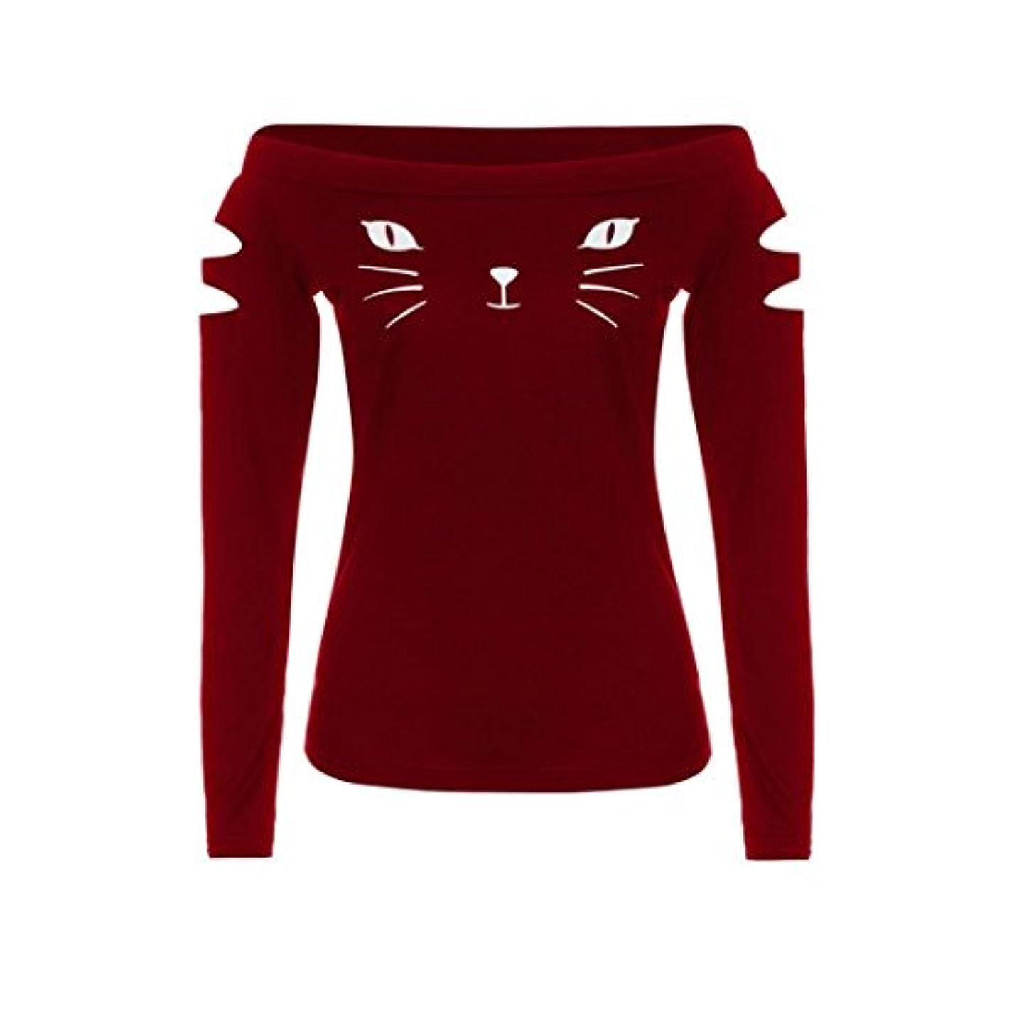 保存反乱疫病SakuraBest 女性スラント長袖ブラウス猫プリントTシャツ