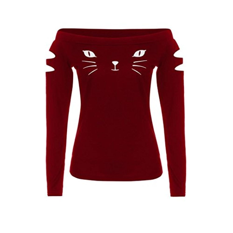 役員ストライプひねりSakuraBest 女性スラント長袖ブラウス猫プリントTシャツ