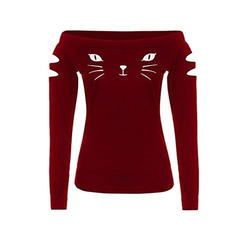 集計時制西SakuraBest 女性スラント長袖ブラウス猫プリントTシャツ