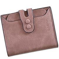 財布 女性のための財布ショートセクションスリー折りたたみバックルマルチカードレトロファッション財布 レジャー財布 ( Color : Pale pinkish gray )