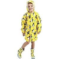 HÖTER Kid's Raincoat Rain Jacket Cartoon Lightweight Rainwear with School Bag Cover Toddler Rain Ponchos for Boy for Girl