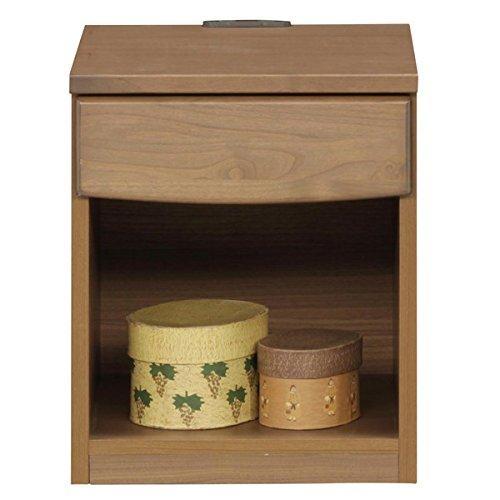ナイトテーブル (ベッドサイドテーブル) ブラウン 木製 (天然木) 幅40cm Wコンセント付き 日本製 【 完成品 開梱設置 】 大川家具