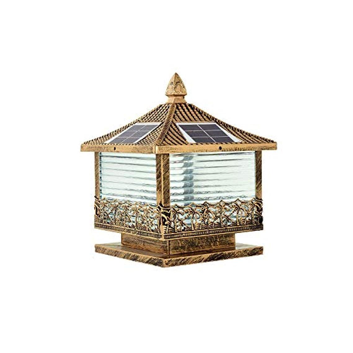すばらしいです関係ない曲がったPinjeer 3色のディミングは防水ソーラー屋外の列のライトを導いたビンテージ工業のアルミニウムのガラスの柱のライト庭の中庭のヴィラの家の装飾的な柱のランプ (Color : Brass, サイズ : S)