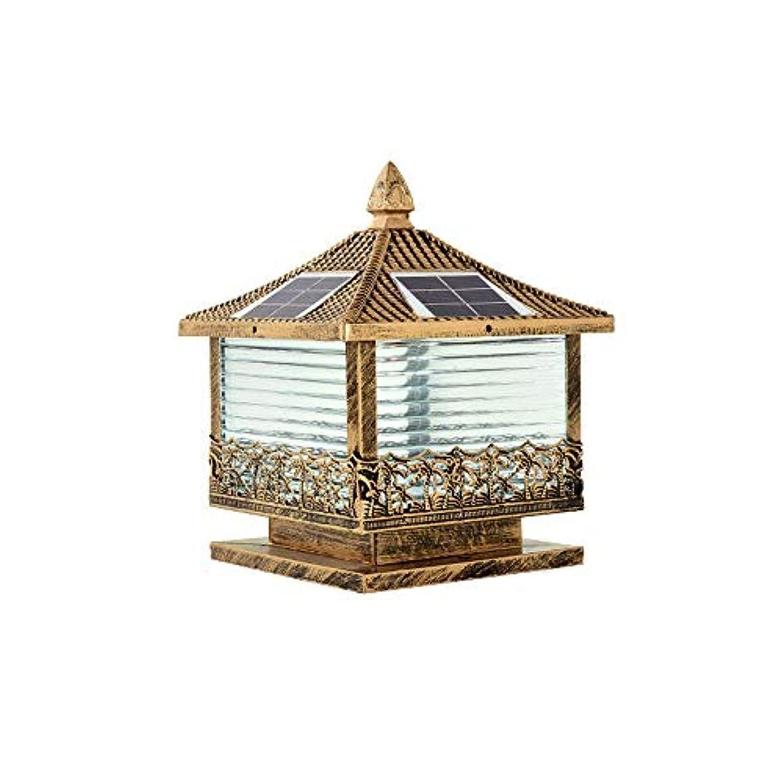 工業用彼自身地下鉄Pinjeer 3色のディミングは防水ソーラー屋外の列のライトを導いたビンテージ工業のアルミニウムのガラスの柱のライト庭の中庭のヴィラの家の装飾的な柱のランプ (Color : Brass, サイズ : S)