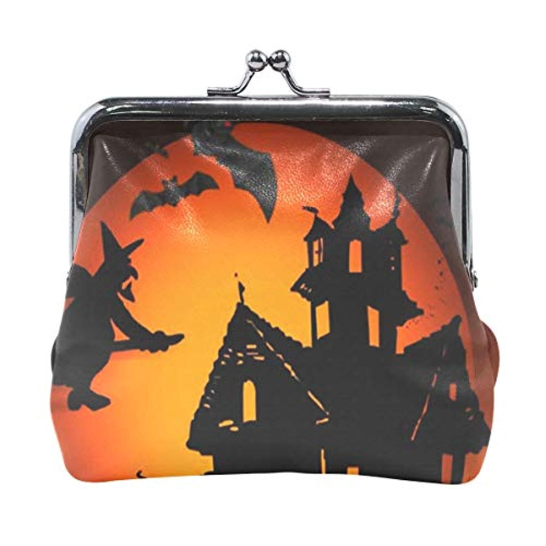 がま口 小銭入れ 財布 ハロウィンの夜 コインケース レザー製 丸形 軽量 人気 おしゃれ プレゼント ギフト 雑貨