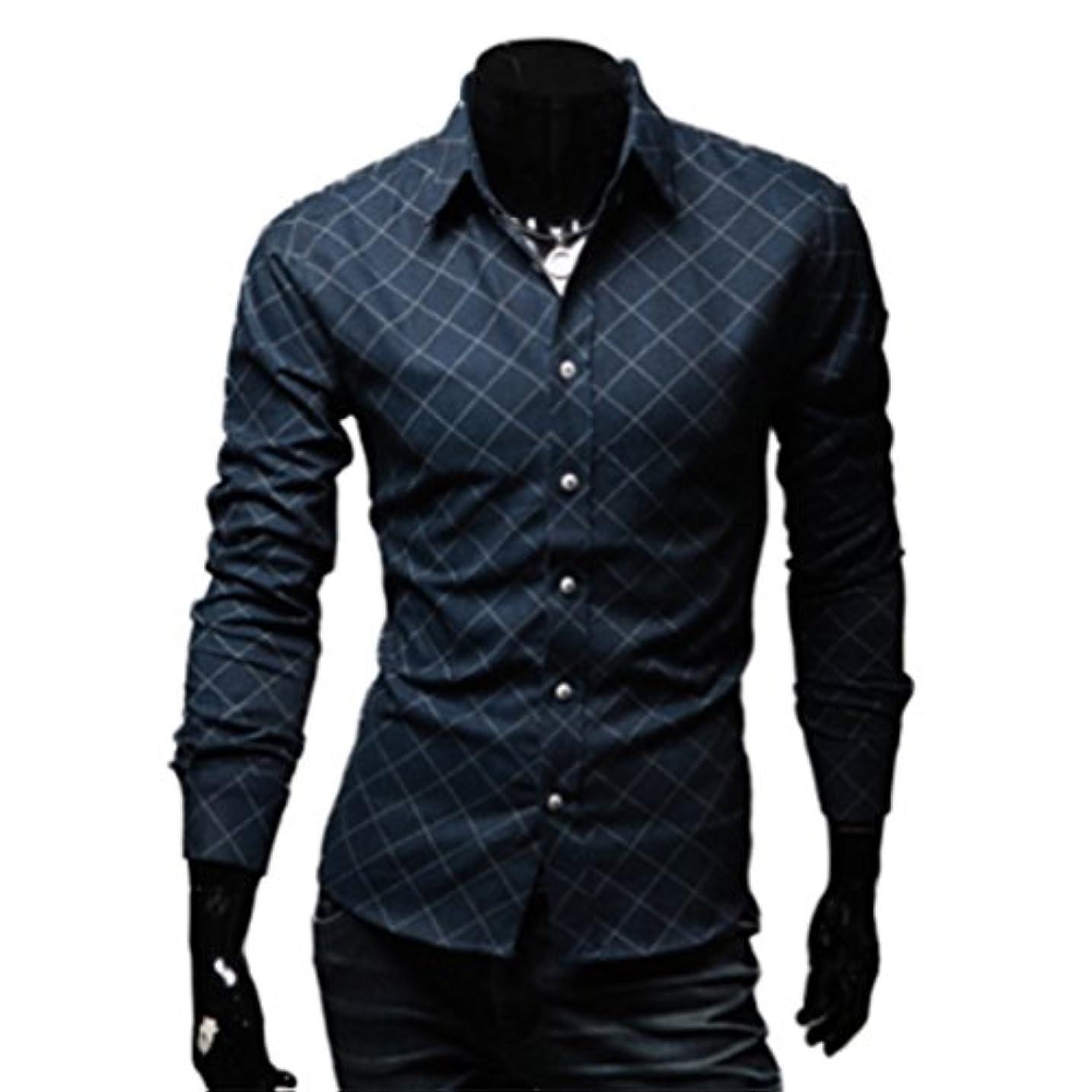 崇拝します手つかずの着服Honghu メンズ シャツ 長袖 チェック柄 カジュアル スリム  ネイビー 2XL 1PC