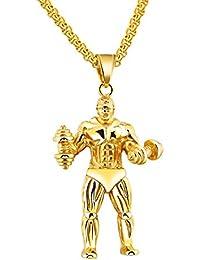 UMジュエリー男性ステンレス鋼フィットネスダンベル筋肉質の男性ペンダントネックレス、55cm