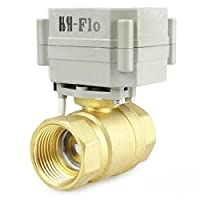 """hsh-flo電動式ボールバルブ2Way AC / DC 9–36V通常閉、NPT電気ボールバルブ Brass 3/4"""" AC9V-36V CR3-03"""