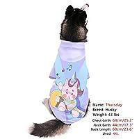 Ohana 犬服 3D犬用パーカー ドッグウェア 犬の服 犬洋服 人気 おしゃれ 帽子付き ファッション クール 大型犬 中型犬 小型犬 いつも清潔 抜け毛防止対策 お出掛け用 室内 ユニコーン16 4XL