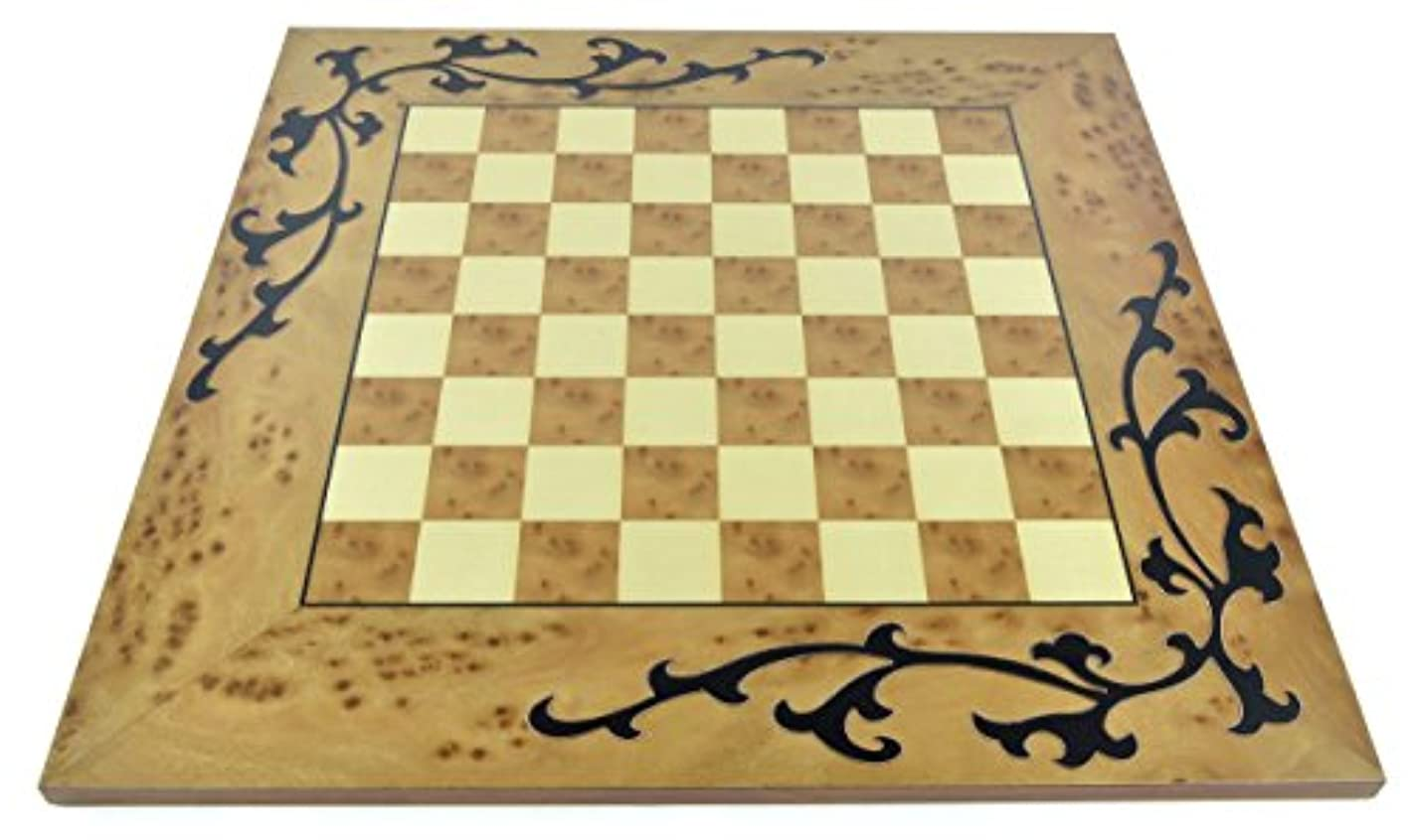 Natural Color Wood Chess Board with Black Floral Accents and 1.75