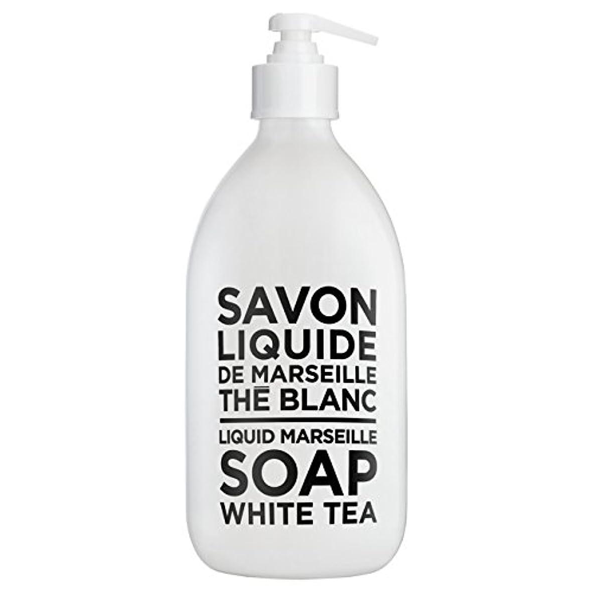 コンテンツはがきお風呂を持っているカンパニードプロバンス ブラック&ホワイト リキッドソープ ホワイトティー(ホワイトティーにシトラスを添えた気品ある香り) 500ml