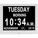 Digital Calendar Day Clocks-8 Alarms,Extra Large Non-Abbreviated Day for Vision Impaired, Elderly,Dementia, Memory Loss (White)