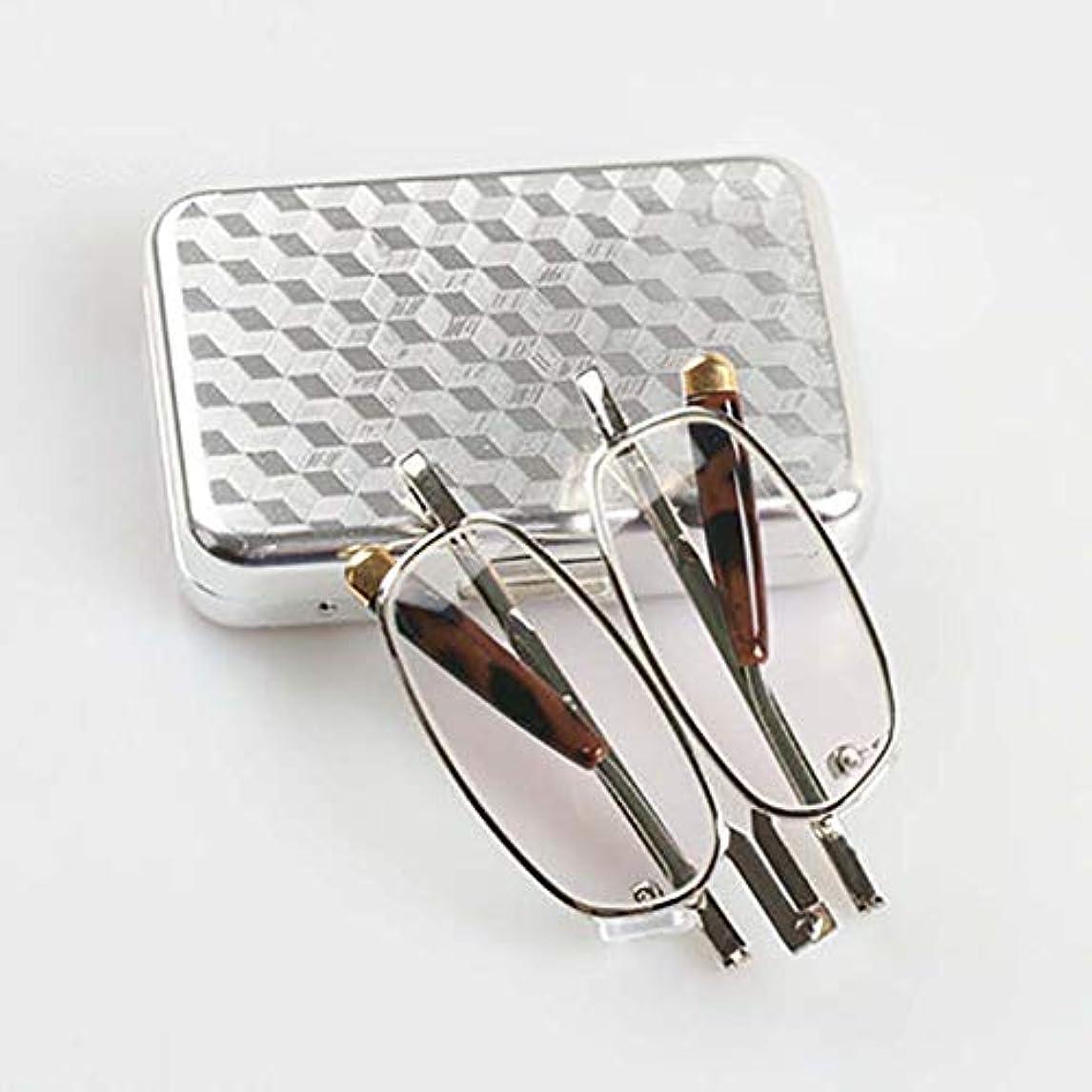 呪い権限信条折りたたみ老眼鏡,軽量 ポータブル ? リーダー スクエア型の眼鏡ケース ガラス ? レンズ な ユニ-A +4.0