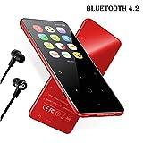MP3プレーヤー FecPecu Bluetooth4.2音楽プレイヤー, 2.4インチ大画面HIFI超高音質ミュージックプレイヤー, 2.5D曲面ガラスパネル 超軽量アルミ合金製ケーシング スピーカー内臓 最大128GBまで拡張可能 (F06赤)