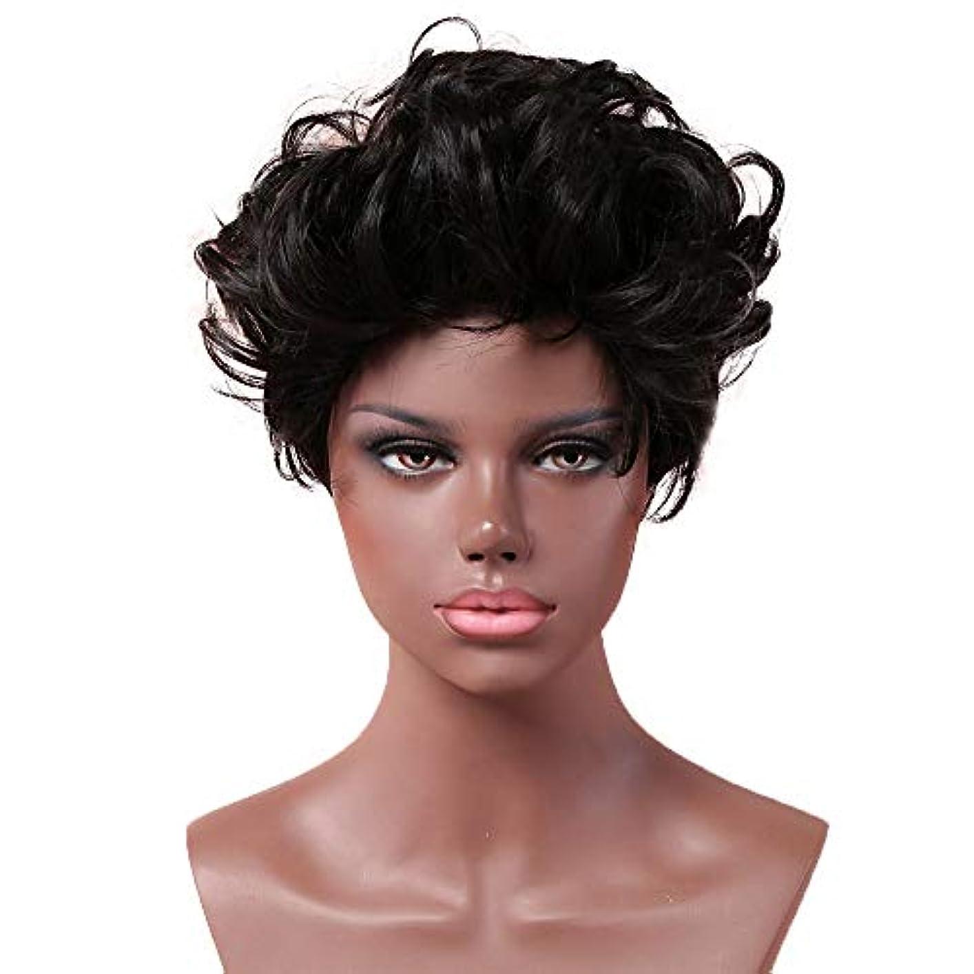 配置決定的シネマ女性用黒ショートカーリーヘアウィッグナチュラルヘアウィッグ合成フルヘアウィッグ女性と女の子用ハロウィンコスプレパーティーウィッグ
